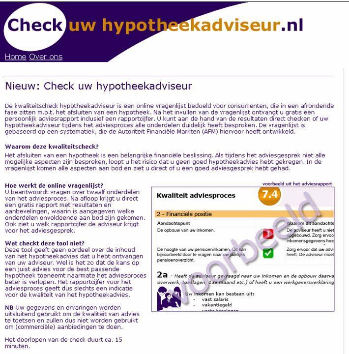 Screenshot checkuwhypotheekadviseur.nl
