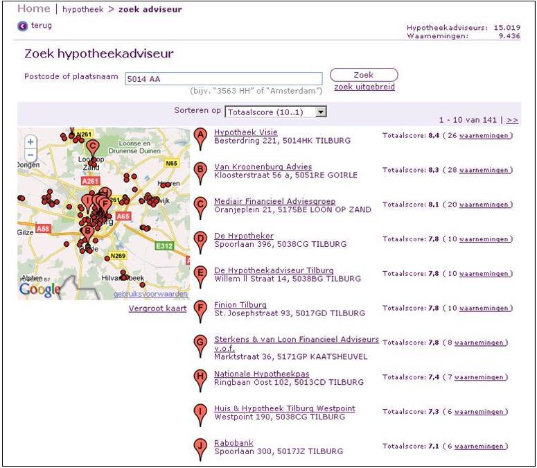 Zoekresultaat via postcode